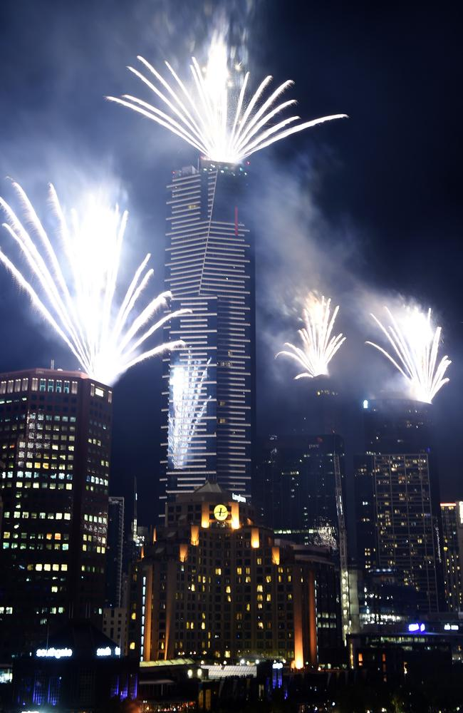 Amazing view ... midnight fireworks explode over Southbank in Melbourne. Picture: Steve Tanner