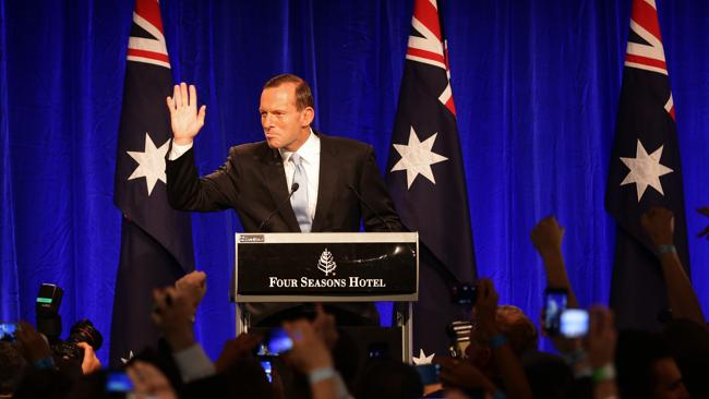 Tony Abbott addresses the crowd for the first time after his election win.
