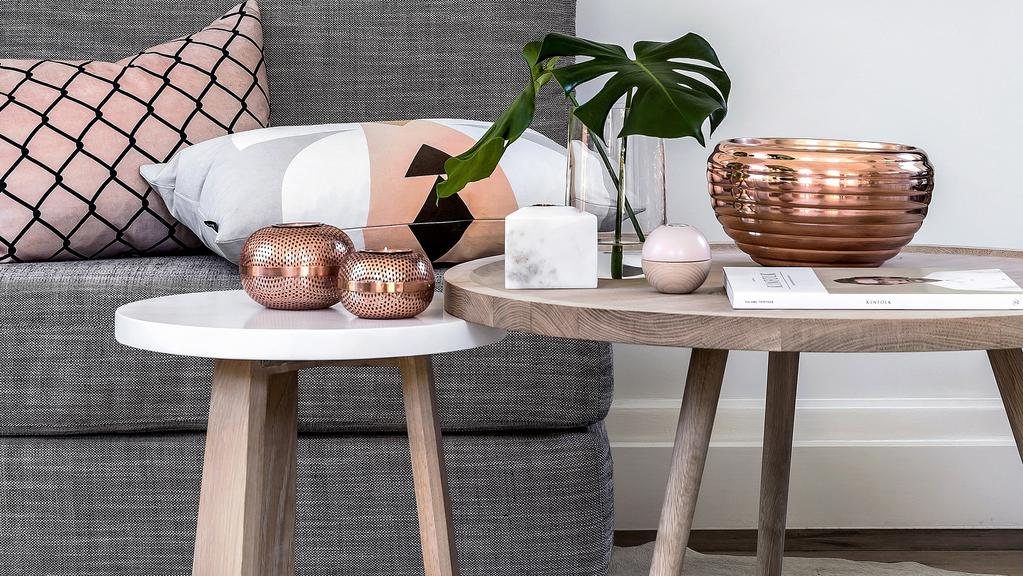 Rose gold and bronze are top interior trends for summer for Living room ideas rose gold