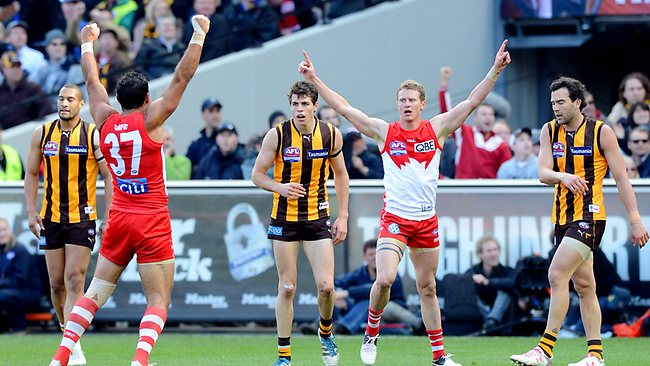 The 2012 AFL Grand Final at the MCG in Melbourne. Hawthorn vs. Sydney. Mitch Morton and Adam Goodes celebrate a goal Picture: Alex Coppel