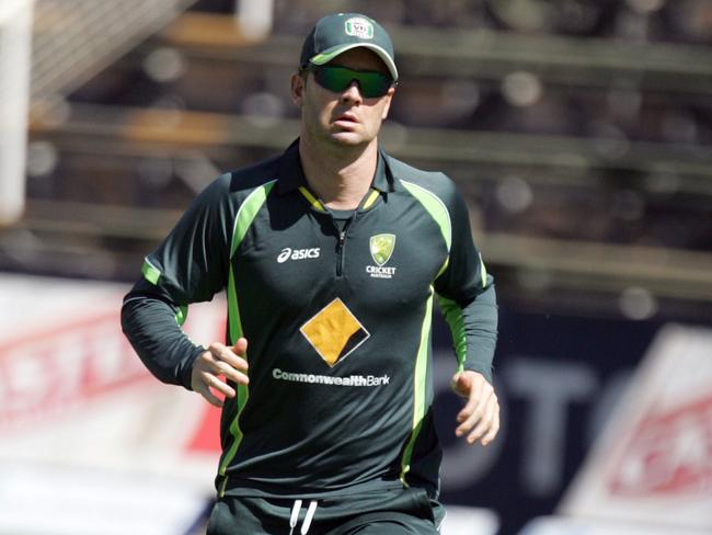 Michael Clarke is battling to be fit for the second half of the tri-series.