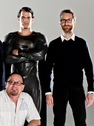 Costume designer Michael Wilkinson (right) with actor Henry Cavill in his Superman Man of Steel outfit and a member of costume team. Picture: Supplied