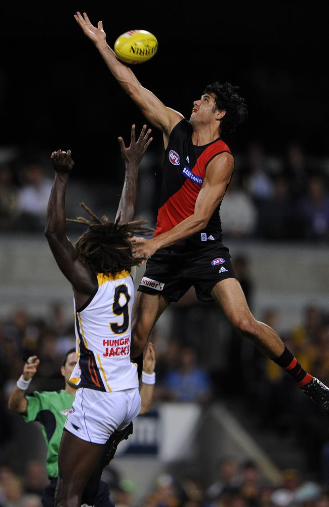 Bomber Patrick Ryder contests against Eagle Nic Naitanui. Picture: Lincoln Baker