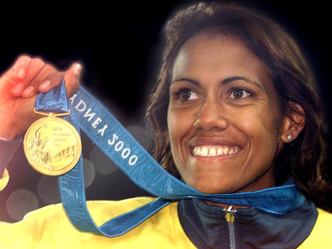 Cathy Freeman with her 200 Olympic 400m gold medal.