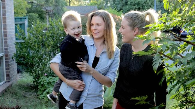Casey Drew, mum of Jack 18 months, has been friends with Rebecca Gibb since they were three years old. Photo: Mark Cranitch.
