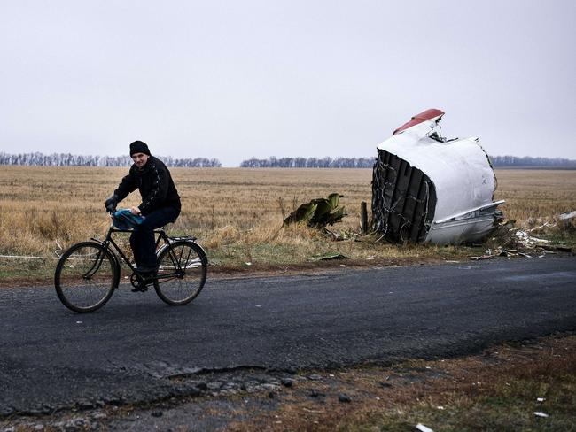 A picture taken on November 7 shows a man riding his bike at the crash site of the Malaysia Airlines Flight MH17 in the village of Hrabove (Grabovo). AFP PHOTO / DIMITAR DILKOFF