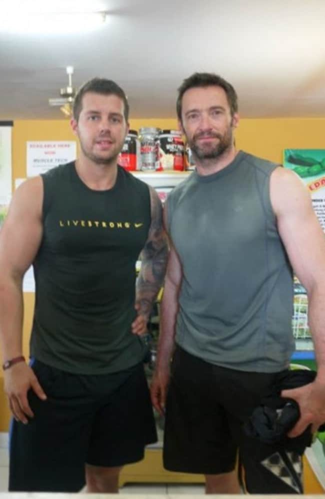 Training Buddies ... Hugh Jackman and David Kingsbury work out together in London. Picture: David Kingsbury Personal Training