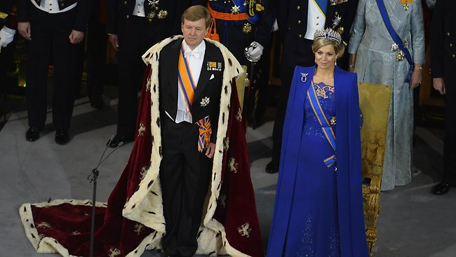 King Willem-Alexander of the Netherlands with his wife Queen Maxima at his inauguration ceremony at Nieuwe Kerk (New Church) in Amsterdam. Picture: AFP