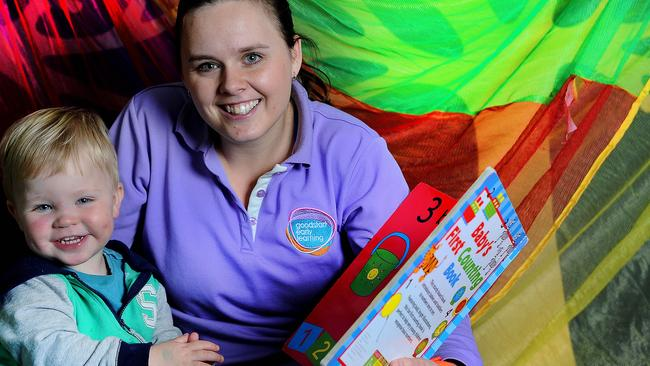 Clair Lang, 23, is thrilled to have secured an educator's role at Goodstart Magill after recently completing her Certificate III in early learning. Picture: Nicholas Wrankmore.
