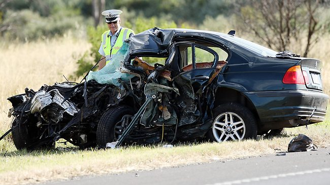 Five people dead after two cars were involved in a head on smash on the Princess Freeway near Lara, outside Geelong. Picture: Norm Oorloff