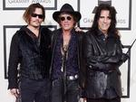 Johnny Depp, Joe Perry, and Alice Cooper of the Hollywood Vampires attend The 58th GRAMMY Awards at Staples Center on February 15, 2016 in Los Angeles. Picture: Getty