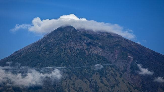 The alert at Mt Agung is at its highest level, prompting travel warnings. Picture: Ulet Ifansasti