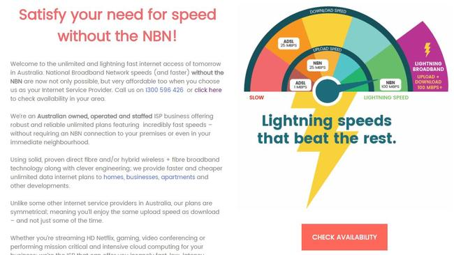 'Satisfy your need for speed without the NBN' is Lightning Broadband's message.
