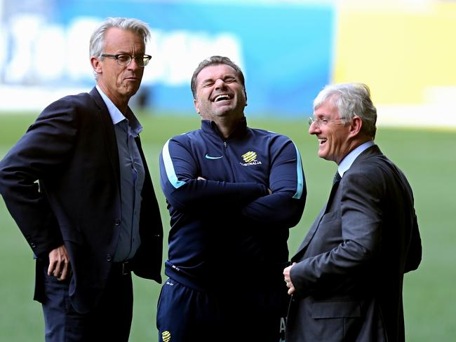 Ange Postecoglou with David Gallop and Steven Lowy.