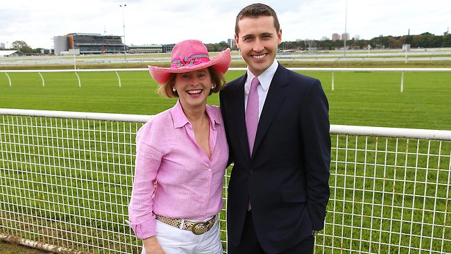 Horse trainer, and doting mum, Gai Waterhouse with her son, bookmaker Tom Waterhouse. Picture: Kelly Rohan