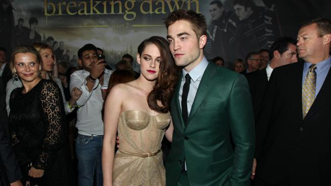 IN the green suit with co-star Kristen Stewart, at the world premiere of The Twilight Saga: Breaking Dawn Part II in Los Angeles. Picture: Matt Sayles/Invision/AP