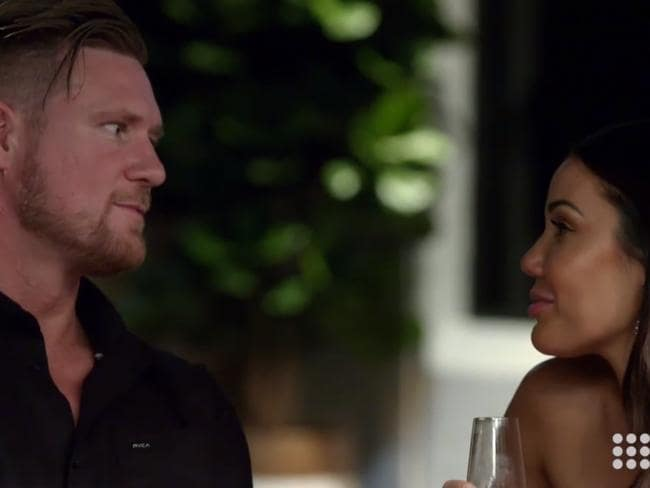Dean and Davina plot their affair on Married at First Sight. Picture: Channel 9