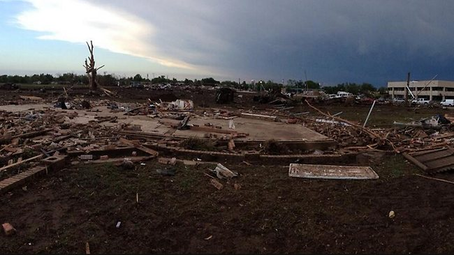 Dawn breaks over a scene of devastation in the shattered Oklahoma City suburb of Moore. Picture: JoeNBC / Twitter