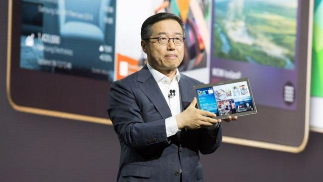 Apple rival...Samsung executives unveiled the Galaxy Tab S tablet at an event in New York City on June 12, 2014