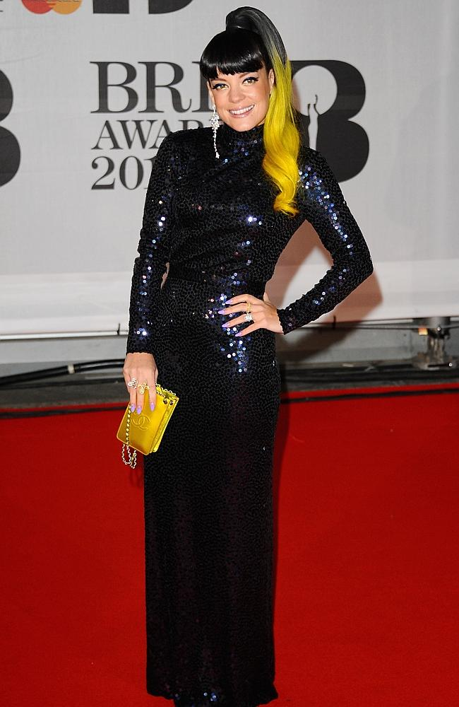 Lily Allen attends The BRIT Awards 2014.
