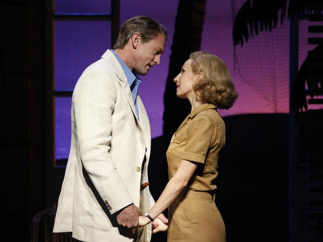 McCune as Nellie Forbush and Tahu Rhodes as Emile De Becque in South Pacific.