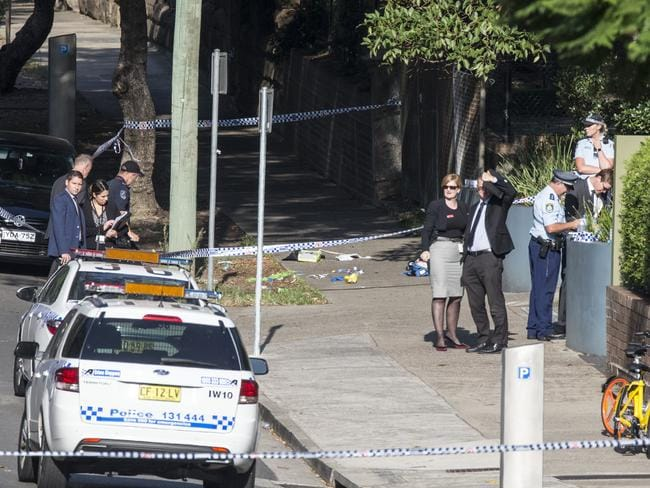 Police at the scene on Carillon Street in Camperdown where a man was tasered earlier in the day, pictured on the ground seem to me medical things used in the treatment the man, He is believed to have died as a result of the incident. Picture: Damian Shaw