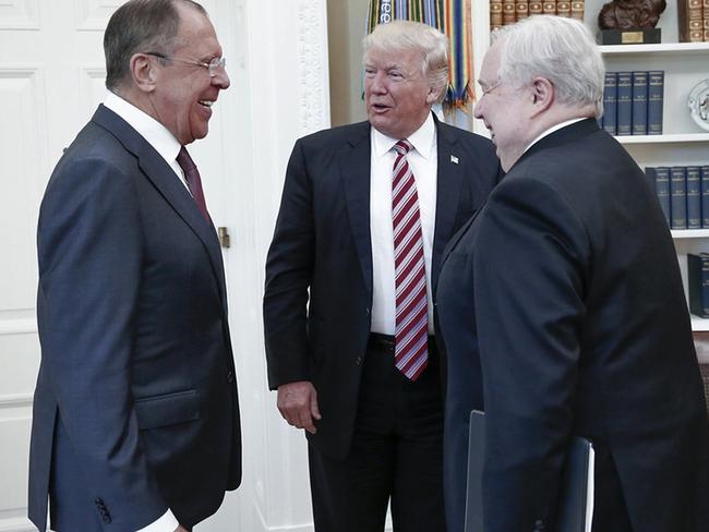 Mr Trump met with Russian Foreign Minister Sergey Lavrov, left, and Russian Ambassador to the US Sergei Kislyak at the White House in Washington last week. Picture: Russian Foreign Ministry/AP