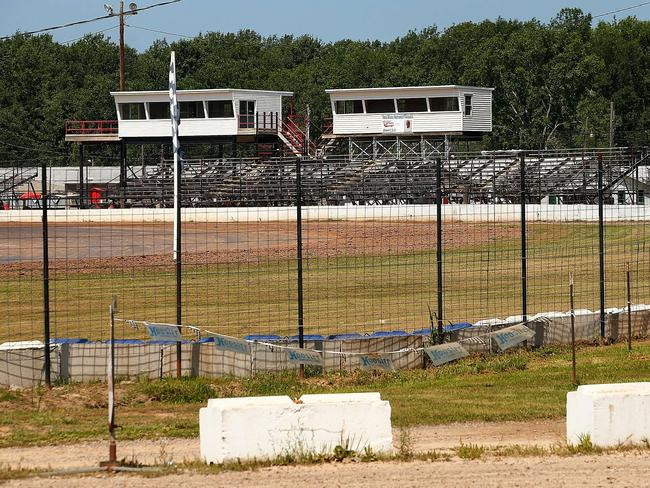 The grandstands sit empty at the Canandaigua Motorsports Park, where the incident took place.