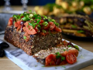 Image: Supplied. Festive vegetarian nut roast recipe