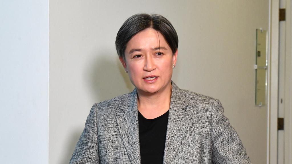 Senator Penny Wong at a press conference at Parliament House in Canberra yesterday. Picture: AAP