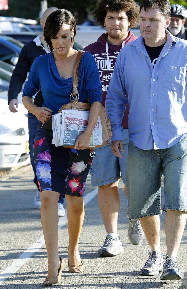 """Wake Up"" presenter Natarsha Belling appeared upset as she left the show's Queenscliff studios this morning as other staff hugged and supported each other. Picture: INF"
