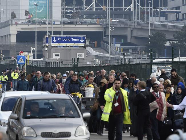 Passengers are evacuated from Brussels airport. Picture: John Thys/AFP