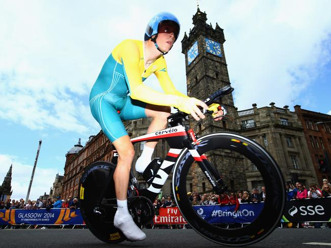 Rohan Dennis goes past The Tolbooth during the Men's individual time trial.