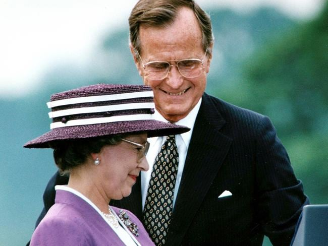Queen with US Presidents: President George H.W. Bush escorts Queen Elizabeth II in 1991.