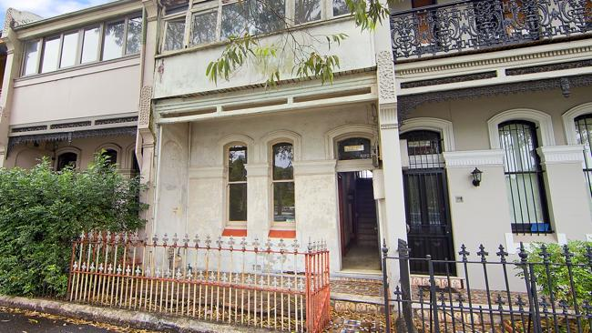 The front of a terrace at South Dowling St, Redfern, which sold for $1.16 million. NSW real estate.