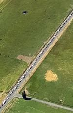 An aerial photo provided by the Oregon State Police shows a 15-mile traffic jam on Highway 26 heading in to Prineville, Oregon. Picture: Oregon State Police via AP