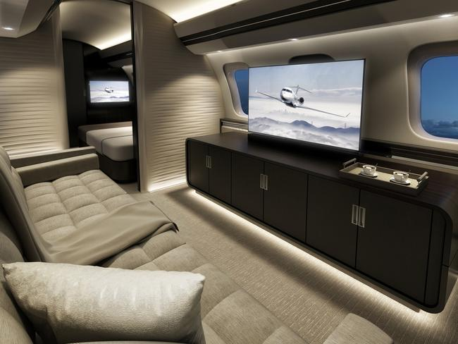The Global 7000 is the latest in luxury flying, with four separate living compartments. Picture: Bombardier