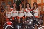<p>Hooters Girls Emma, Sereena, Jess and Rachael from Hooters Parramatta with HOGS bike</p>