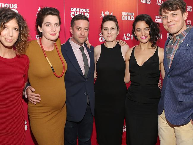 Creative team ... 'Obvious Child' producer Elisabeth Holm, actor Gaby Hoffmann, actor Gabe Liedman, director Gillian Robespierre, actor Jenny Slate and actor Jake Lacy. Picture: Jesse Grant