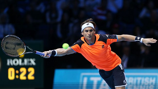ATP World Tour finals in London. David Ferrer of Spain hits a forehand against Juan Martin Del Potro. Picture: Clive Brunskill