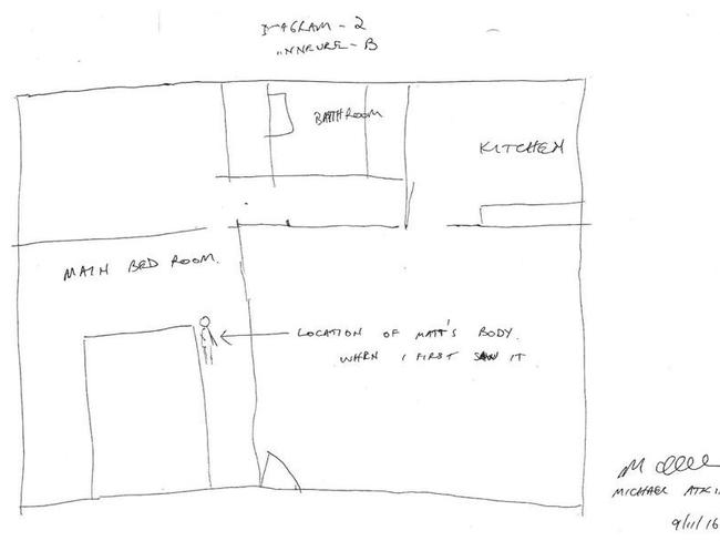 Michael Atkins's diagram of where he claims he found Mr Leveson's body.