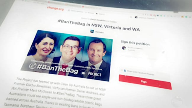 #BanTheBag ... The Project has started a petition to prompt a nationwide ban.