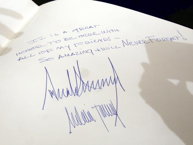 The message left by Trump in the Yad Vashem Holocaust Memorial Museum guest book. Picture: GALI TIBBON / AFP