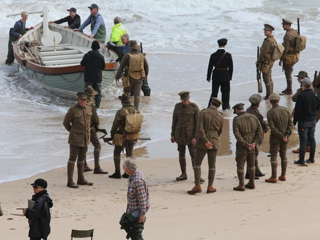 Scenes from Deadline Gallipoli being shot near the Port Noarlunga jetty. Photo: Calum Robertson