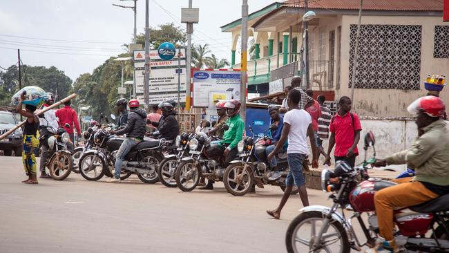Measures in place ... motorcycle taxis in Sierra Leone have been ordered off the roads to reduce the movement of the local population.