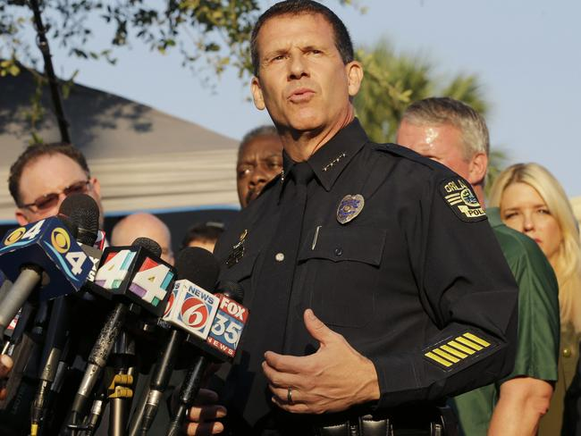 Orlando Police Chief John Mina describes the details of the fatal shooting at the Pulse nightclub during a media briefing in Orlando, Florida.