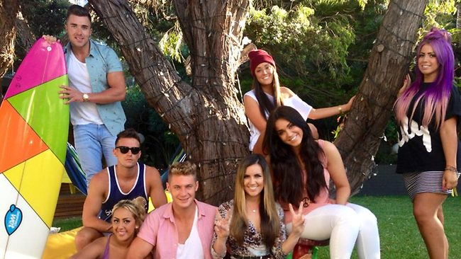 The Geordie Shore crew with reporter Alison Stephenson at the Geordie HQ in Coogee. Picture: news.com.au