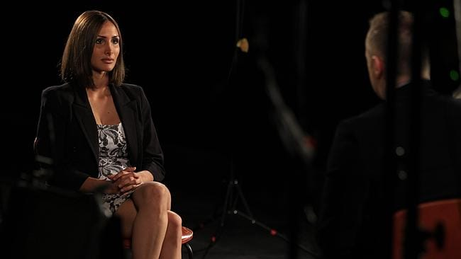 Sunday Night's interview with Simon Gittany's girlfriend Rachelle Louise. Picture: Channel Seven