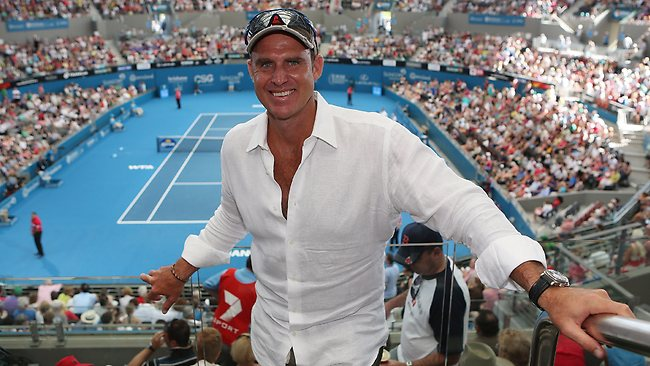 Former Test cricketer Matthew Hayden enjoying the action at the Brisbane International.