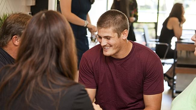 Cronulla NRL player Blake Ayshford at Woolooware for the sale of a new development on the Cronulla Sharks Leagues site.